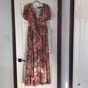 LuLus Blush Pink Print Maxi Dress